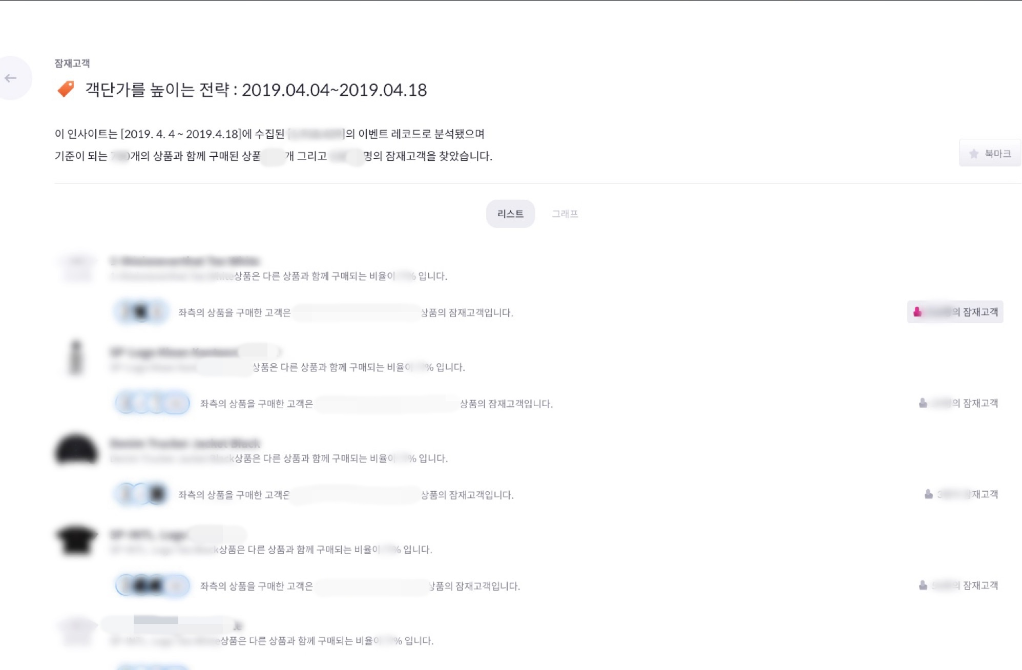 bigin 애널리틱스의 자동화 보고서 추출 결과 화면